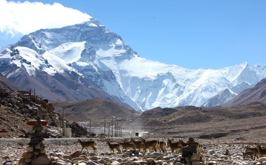 View the stunning of Mt.Everest at Everest base camp in Tibet.