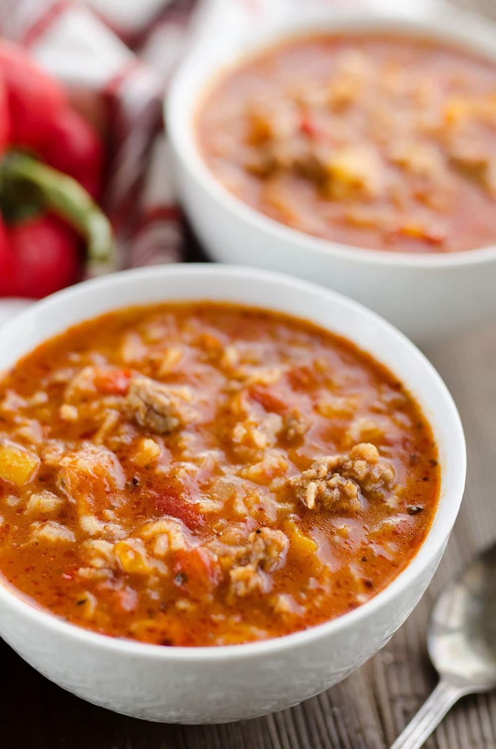 Pressure Cooker Stuffed Pepper Sausage Soup | The Creative Bite