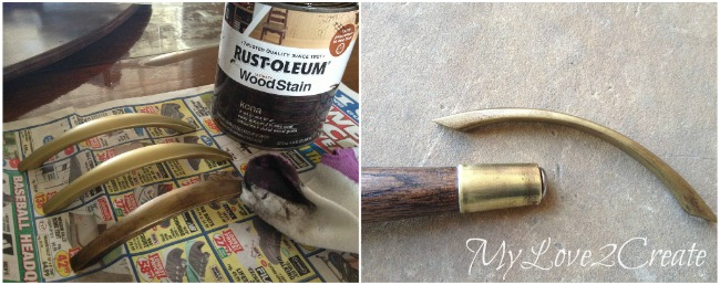 Rubbing stain on spray painted handles to give them a rustic look