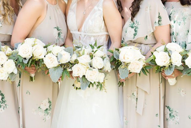 white wedding bouquets for bridesmaids