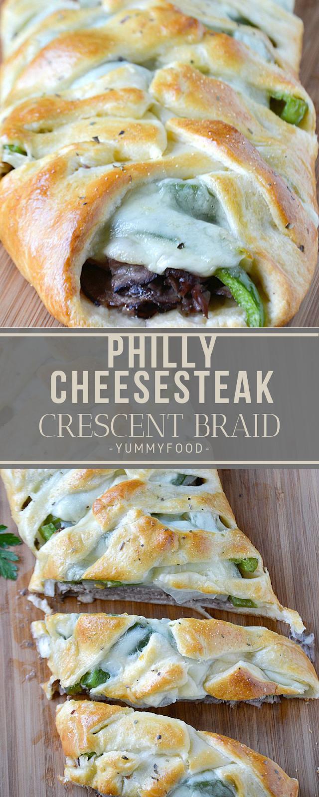 Philly Cheesesteak Crescent Braid