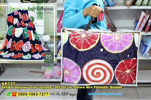 Selimut Rossinni Fruit Lollypop 150x200 Cm Pattern Biru Polyester Blanket