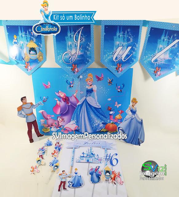 Cinderela Princesas dicas e ideias para decoração de festa personalizados kit festa só um bolinho