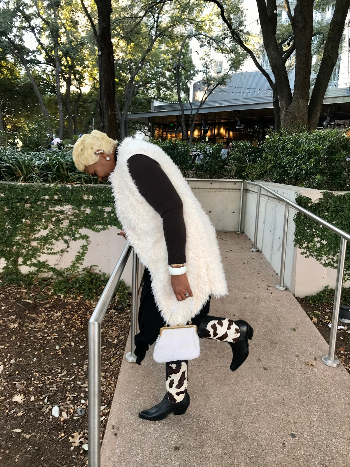Sharing Outfit Of The Day Faux Fur, Cow Boots , Turtle Neck and Pearl Handbag