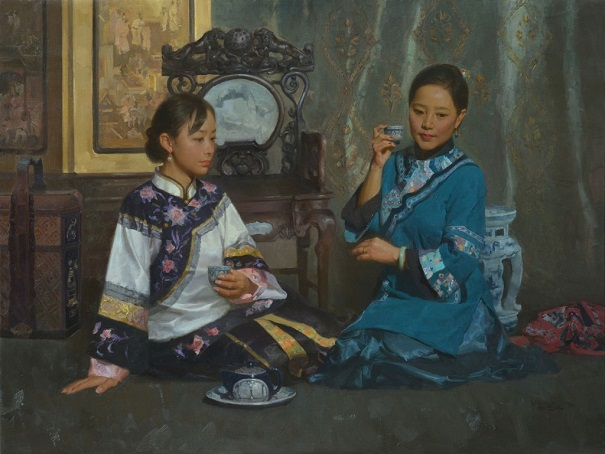 "by Mian Situ, ""Teatime"" - oil on canvas 