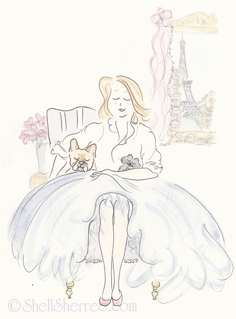 Paris Fashion and Fluffballs illustration: Blue White and Frenchies  © Shell-Sherree