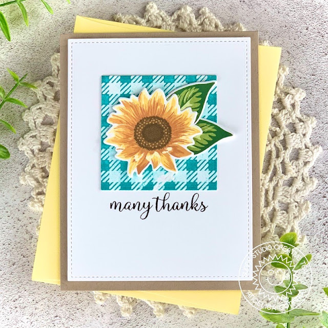 Sunny Studio Stamps: Frilly Frame Dies Sunflower Fields Thank You Card by Angelica Conrad