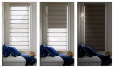 Vignette Duolite features a sheer or light-filtering front shade with a room-darkening back panel on a single roller.