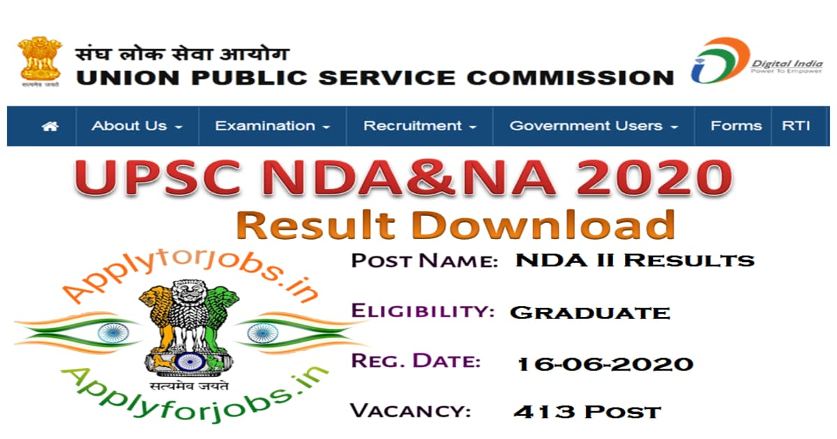 UPSC NDA Result Download 2020, applyforjobs.in