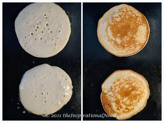Whole wheat pancakes, Aasshirvaad Sharbati atta pancakes, American pancakes, griddle, frying pancakes on griddle