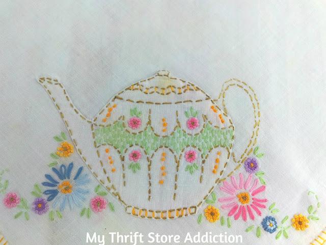 vintage teapot tablecloth