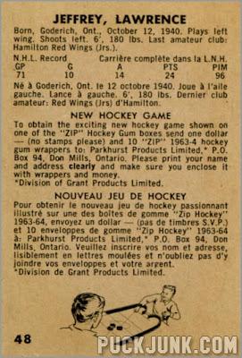 1963-64 Parkhurst #48 – Lawrence Jeffrey