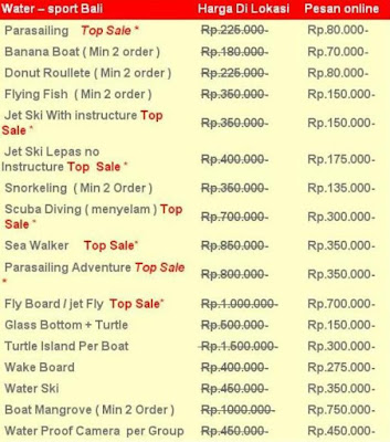 Harga watersport murah di tanjung benoa
