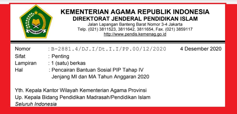 gambar Penerima bantuan PIP Tahap IV MI dan MA Tahun 2020
