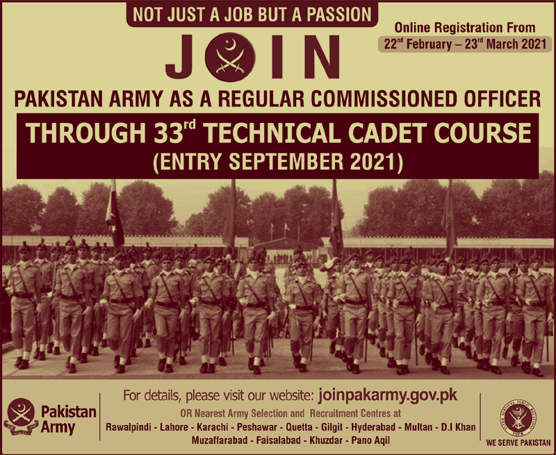 Jobs in Pakistan Army as a Regular Commissioned Officer 2021 (200 Posts)