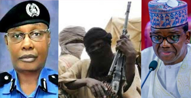 """Alt: photo showing Nigeria police inspector general, bandit with gun and governor of Zamfara state"""""""