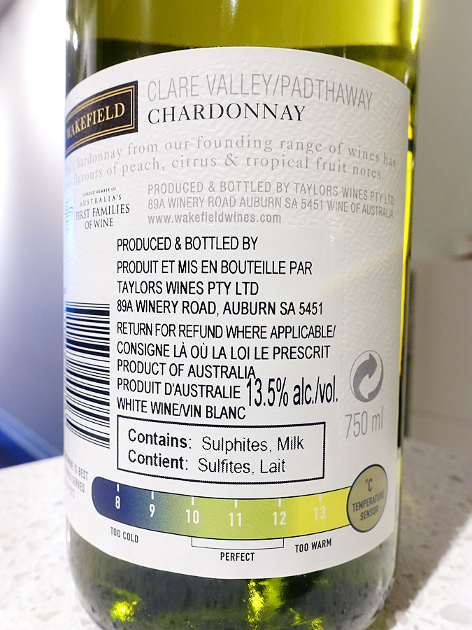Wakefield Clare Valley Estate Chardonnay 2019 - Optimal Drinking Temperature Sensor