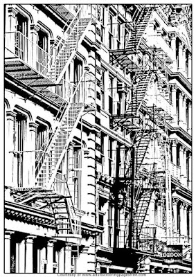 newyorks apartment adults architectures coloring pages