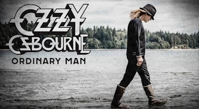 O astro do rock, Ozzy Osbourne, com roupas pretas, um chapéu de pescador e galochas, caminhando na beira de um lago com árvores no fundo. Na lateral esquerda das imagem, está escrito o nome do artista seguido do título do álbum.
