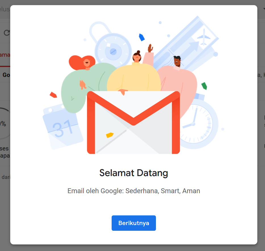 Halaman Selamat Datang di Gmail