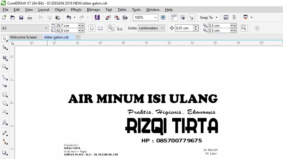 Membuat Desain Stiker Galon Isi Ulang Air Minum Corel Draw
