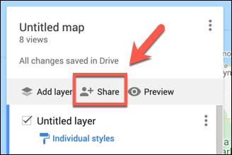 اضغط على Share لمشاركة خريطة خرائط Google المخصصة