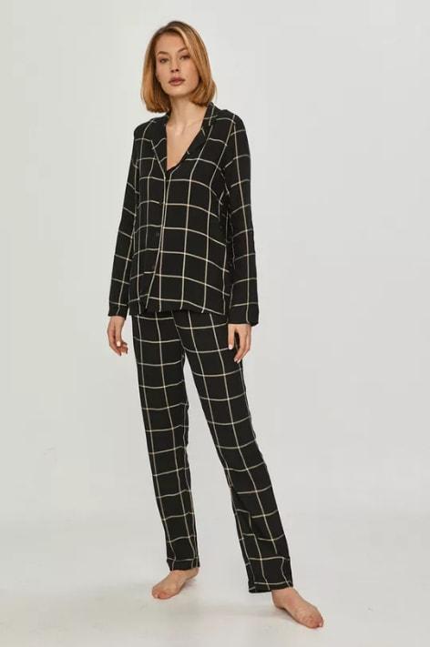 Answear Lab - Pijama dama neagra in carouri