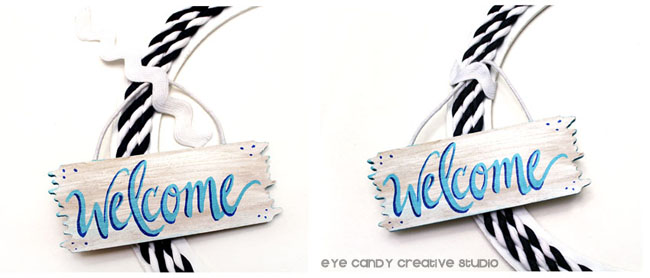 navy & white wreath, nautical wreath, welcome wreath, welcome sign