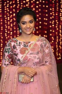 Keerthi Suresh Looks super cute in Designer Anarkali Dress at Zee Telugu Apsara Awards 2017 9th April 2017~  Exclusive