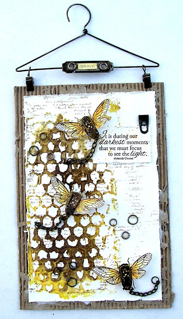 Stampers Anonymous Entomology Ranger Tim Holtz Layering Stencil Honeycomb For The Funkie Junkie Boutique