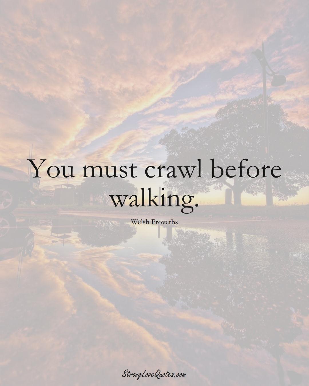 You must crawl before walking. (Welsh Sayings);  #EuropeanSayings