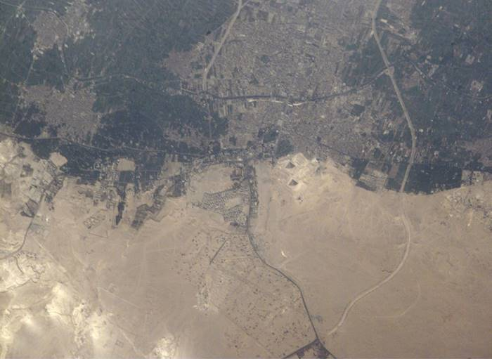 Space view of Great Pyramids at Giza