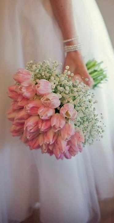tulip and baby's breath bouquet