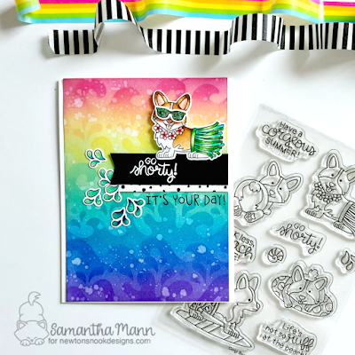 Go Shorty! It's Your Day Card by Samantha Mann for Newton's Nook Designs, stickles, Birthday Card, birthday, Rainbow, waves, Stencil, Distress Inks, Ink Blending #newtonsnook #distressinks #inkblending #birthdaycard #corgi