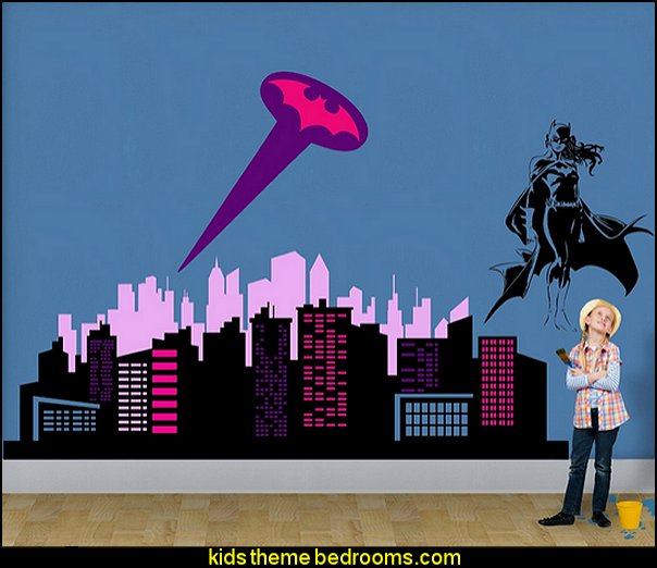 City Skyline Buildings  superhero girl bedroom decorating  city wall decal stickers
