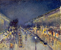 Camille Pissarro's The Boulevard Montmartre at Night, 1897. It depicts a famous street in Paris that inspired Picasso also.