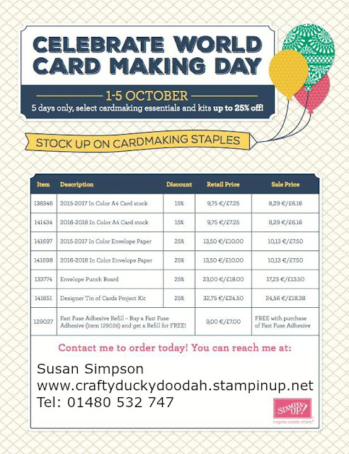Stampin Up! UK Independent  Demonstrator Susan Simpson, Craftyduckydoodah!, World Card Making Day 2016, Special Offers, Supplies available 24/7,