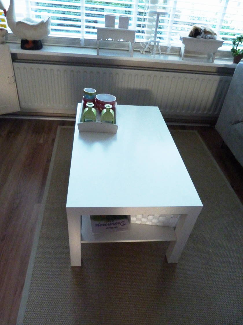 Lack coffee table makeover with wallpaper