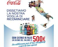 Logo Concorso Coca-Cola ''Dissetiamo la nostra voglia di ricominciare: vinci buoni shopping da 500 euro