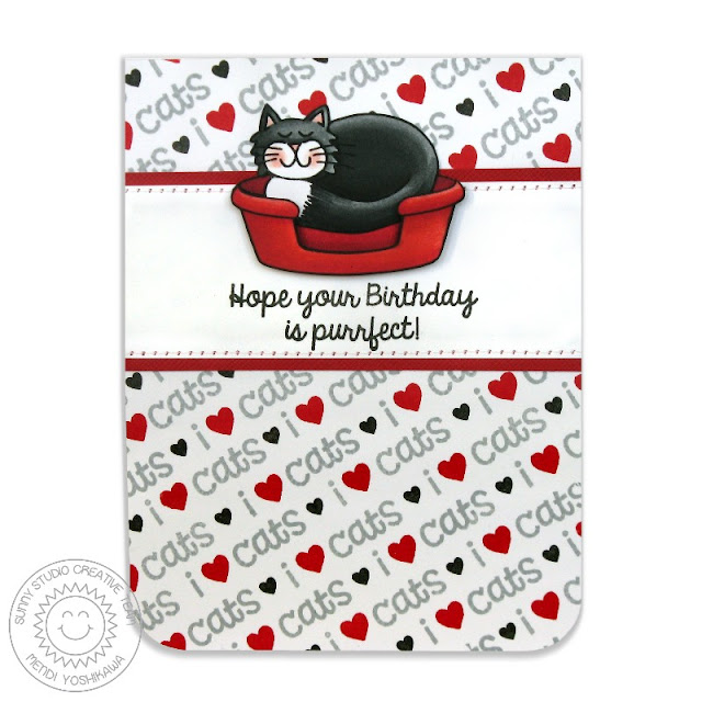 Sunny Studio Stamps: Pet Sympathy & Furever Friends I Heart Cats Birthday Card by Mendi Yoshikawa