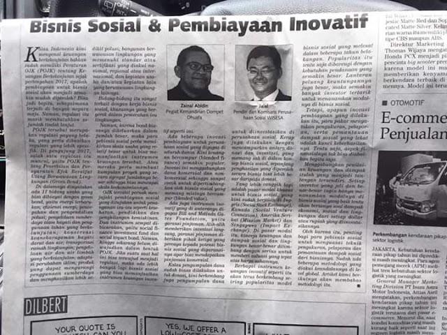 Artikel Zainal Abidin di Kontan: Pembiayaan Inovatif untuk Bisnis Sosial