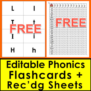 phonics assessment recording sheets and flashcards