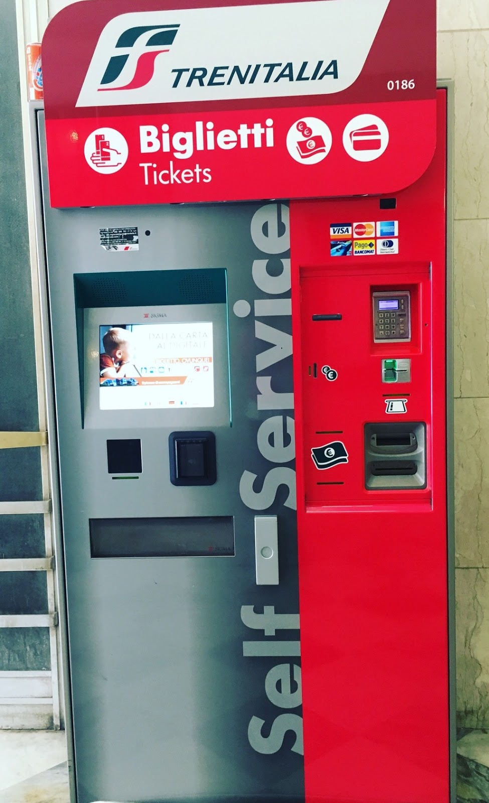 Ticket vending machines in Italy train station