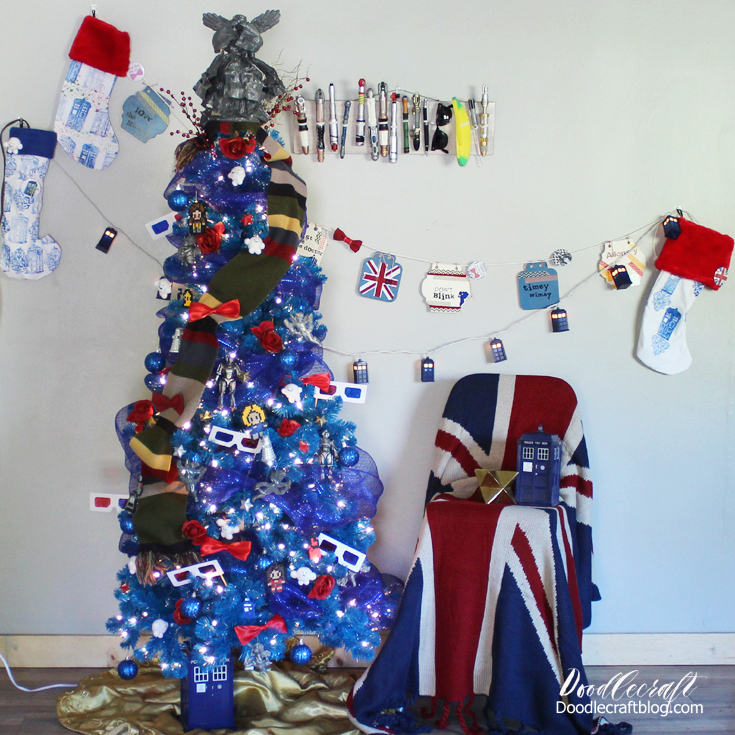 Doctor Who inspired Christmas tree with handmade decorations.