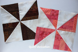 chocolate and coral pinwheel blocks made by QuiltFabrication