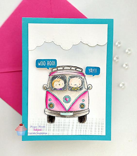 CIC, Purple Onion Designs, Zig clean colour brush pens, Quillish, CAS card, Purple Onion design VW Bus cling stamp, POD Bus stamp card, POD cute critters card