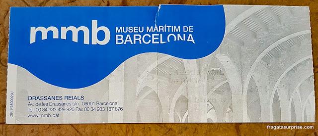 Ingresso para o Museu Marítimo de Barcelona