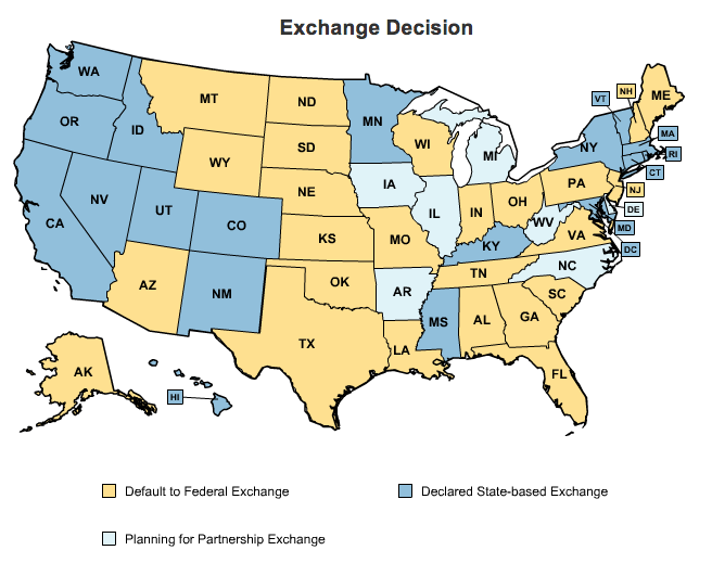 an map of each state relating to obamacare state exchange