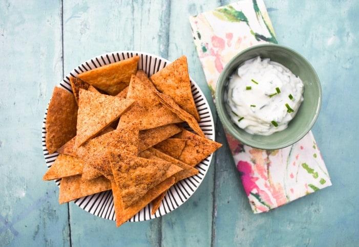 Paprika Tortilla Chips with Lemon & Chive Dip