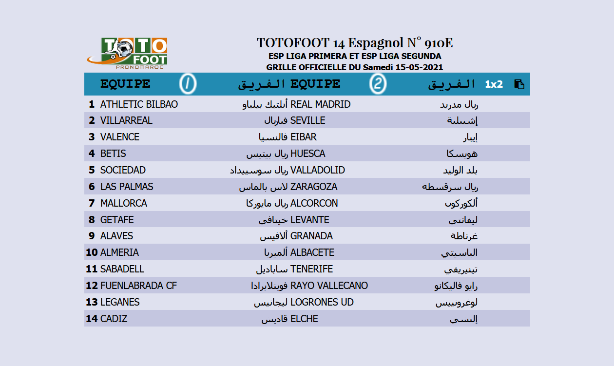 PRONOSTIC TOTOFOOT 14 Espagnol N° 910E